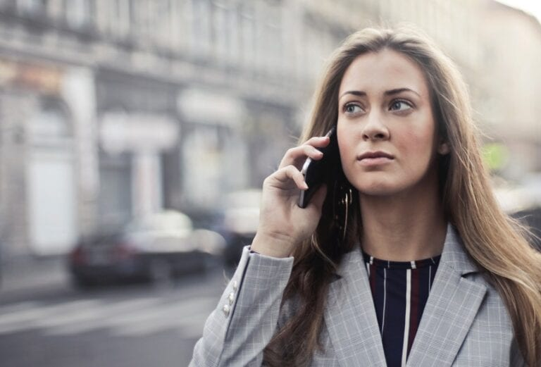 Woman declining an interview over the phone