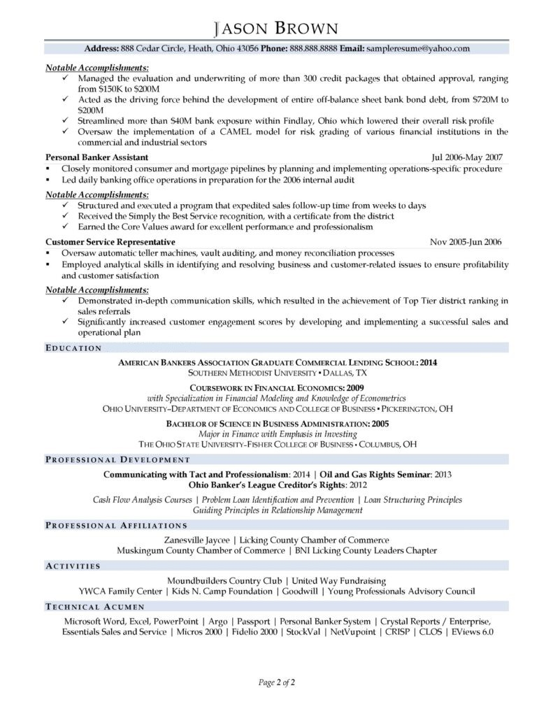 resume example for business banker