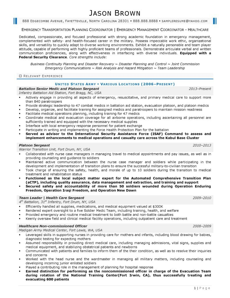 Page 1 Of An Emergency Management Resume Prepared By Resume Professional Writers