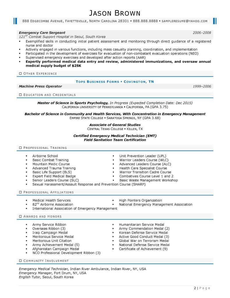 Page 2 Of An Emergency Management Resume Prepared By Resume Professional Writers