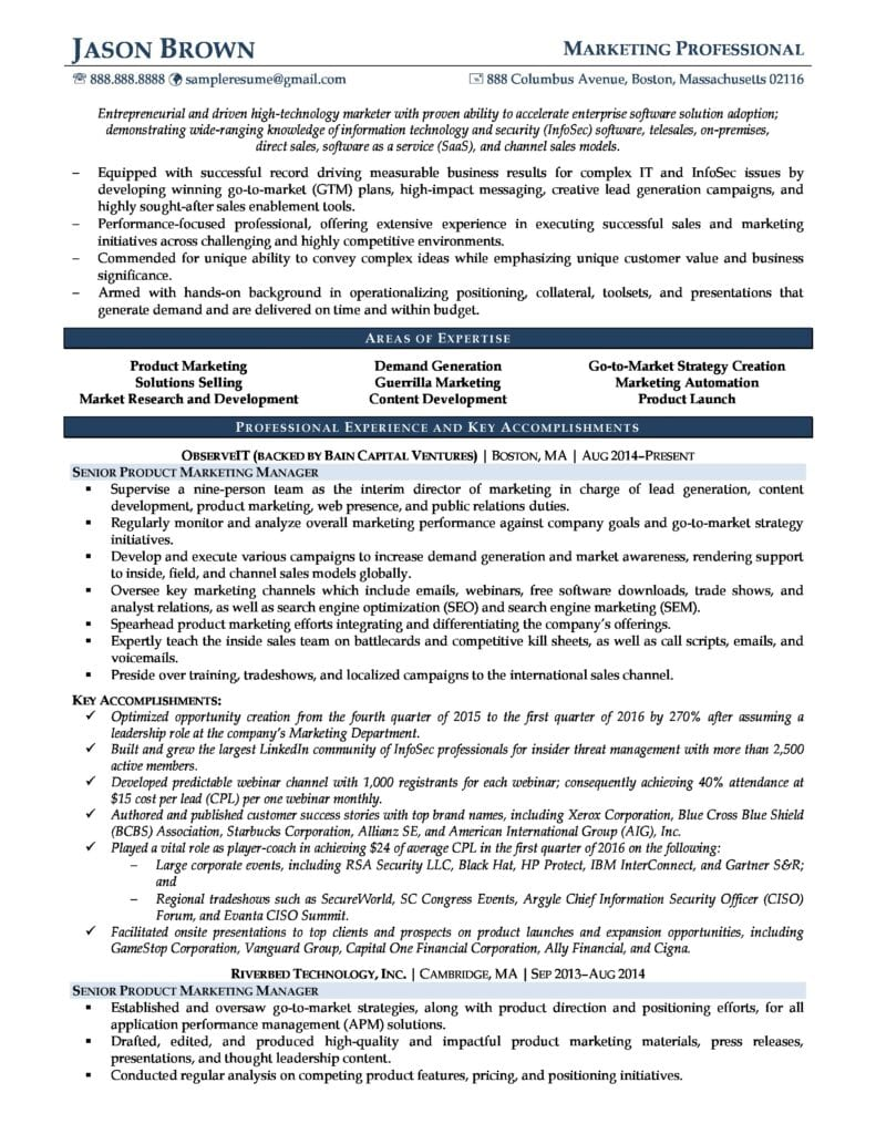 Page 1 Of A Product Marketing Manager Resume Example Prepared By Resume Professional Writers