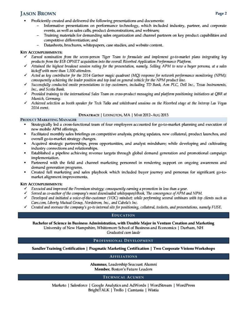 Page 2 Of A Product Marketing Manager Resume Example Prepared By Resume Professional Writers