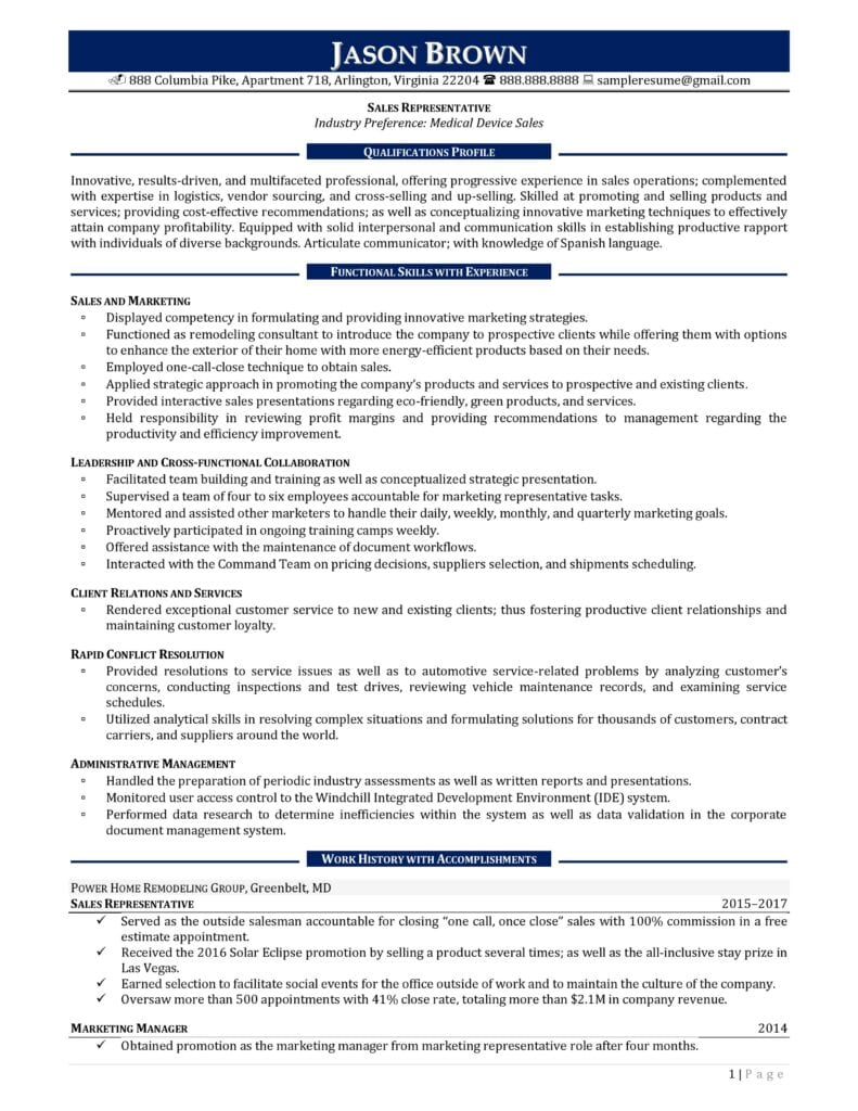 Page 1 Of A Sales Representative Resume Example Prepared By Resume Professional Writers