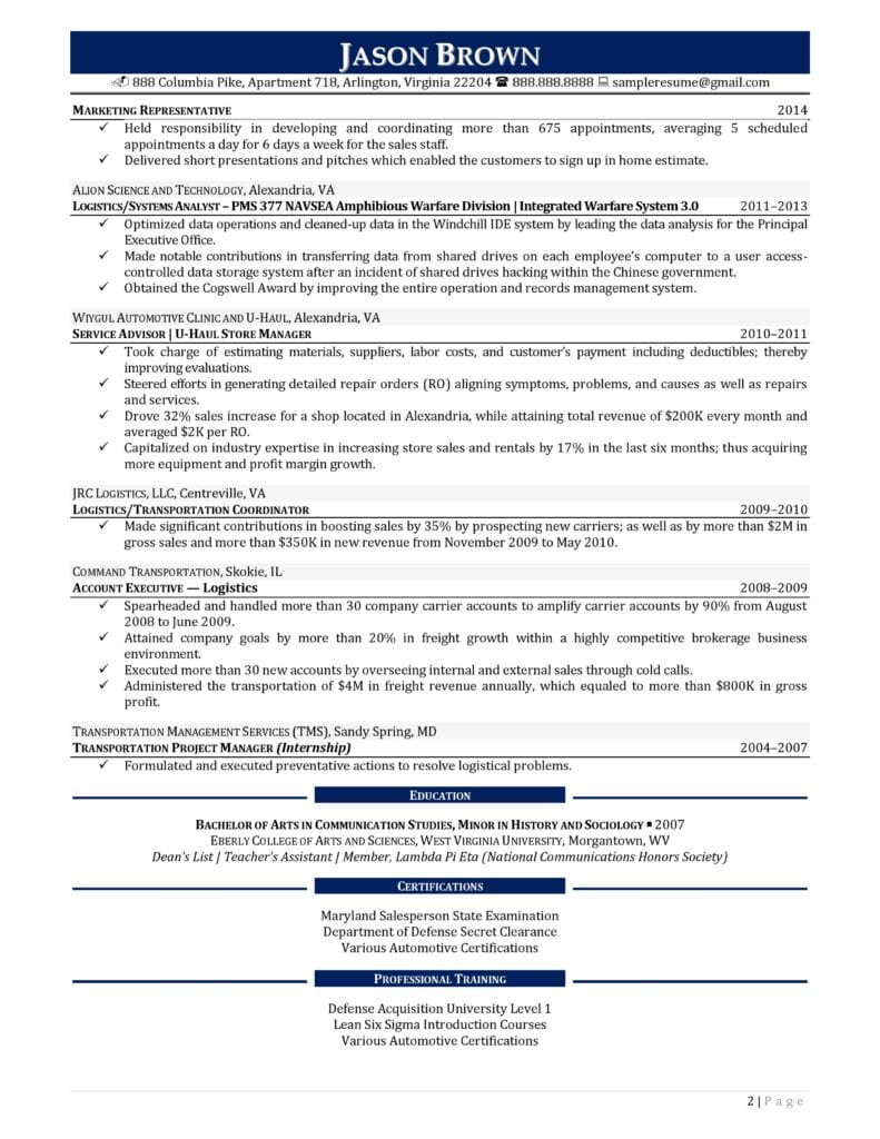 Page 2 Of A Sales Representative Resume Example Prepared By Resume Professional Writers