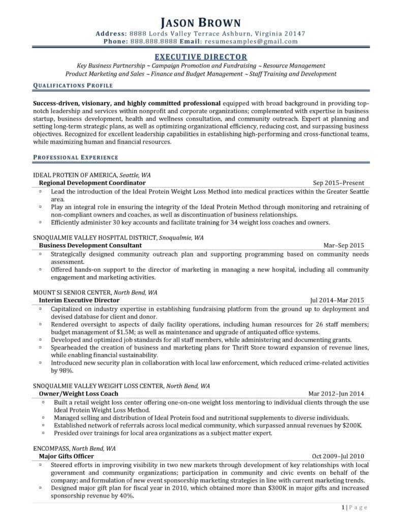 Page 1 Of An Executive Director Resume Prepared By Resume Professional Writers