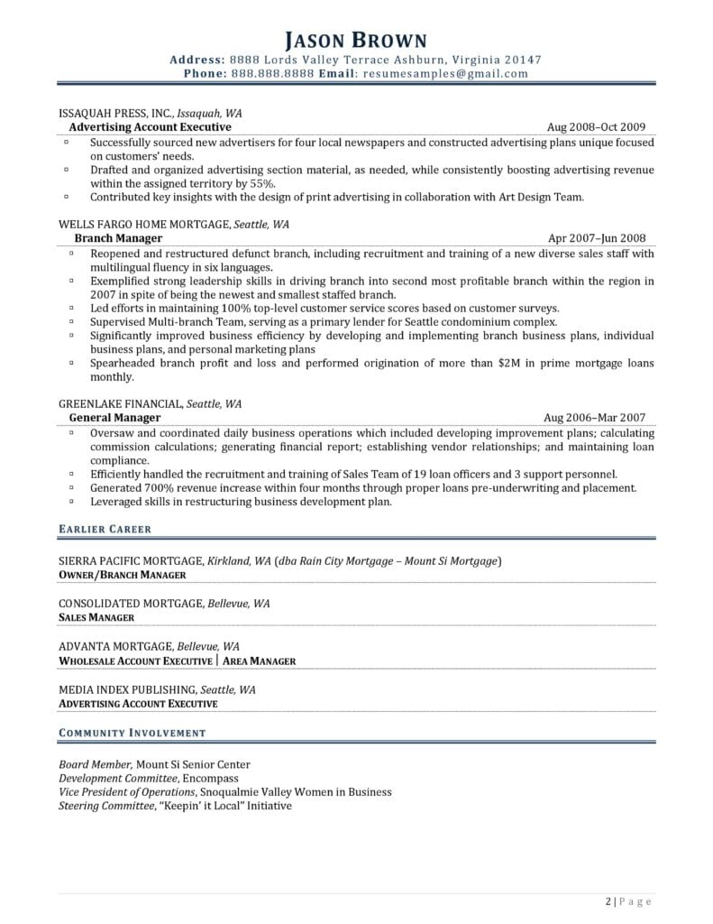 Page 2 Of An Executive Director Resume Prepared By Resume Professional Writers
