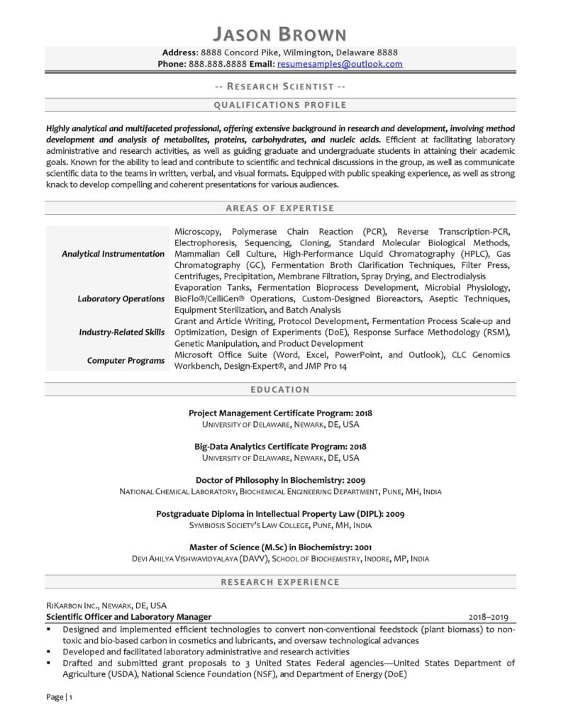 Research Scientist Resume Examples page 01