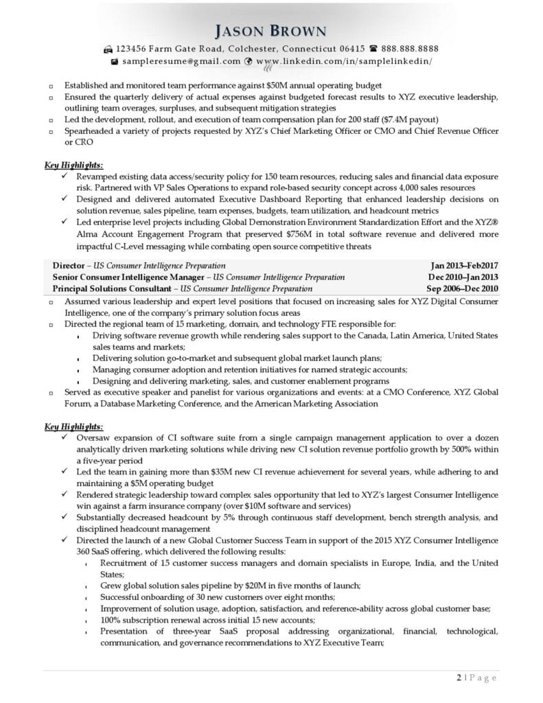 Page 2 Of A Senior Director Resume Example Prepared By Resume Professional Writers