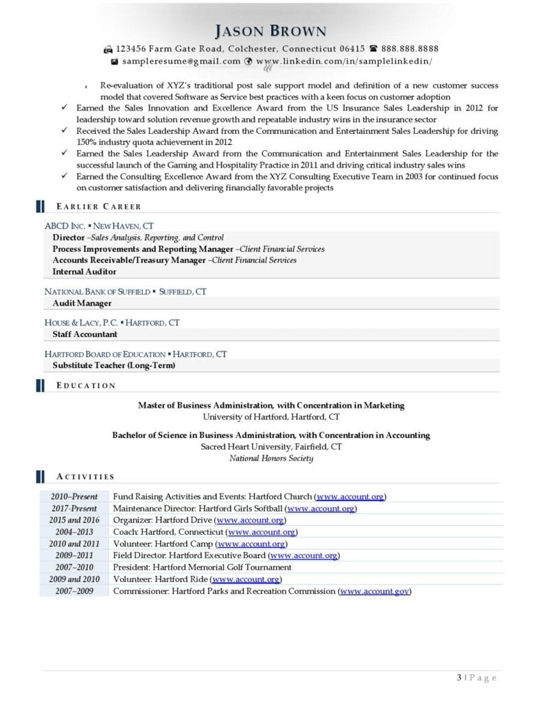 Page 3 Of A Senior Director Resume Example Prepared By Resume Professional Writers