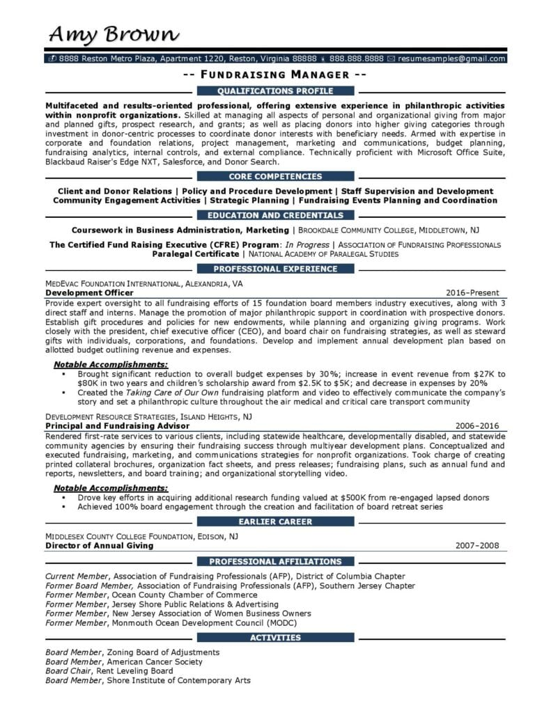 Fundraising Manager Resume Example Prepared By Resume Professional Writers