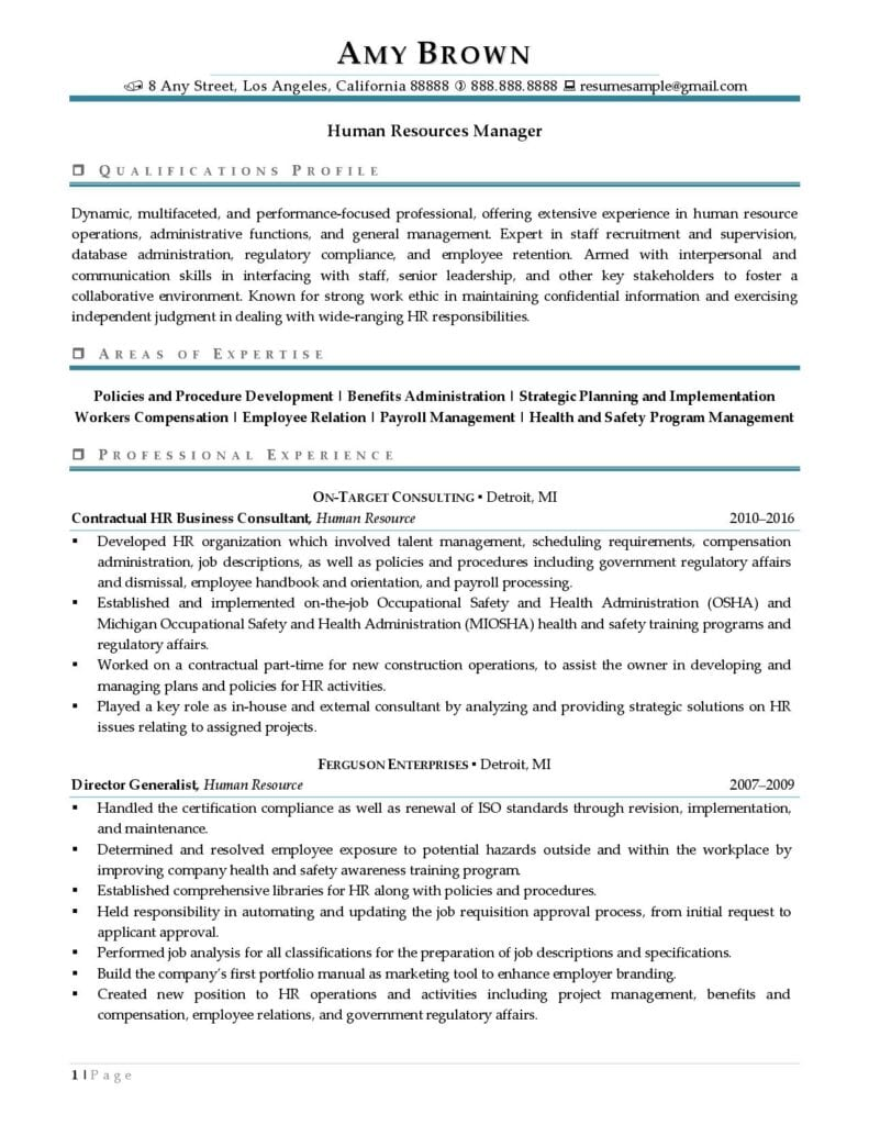 Human Resources Manager Resume Examples 01