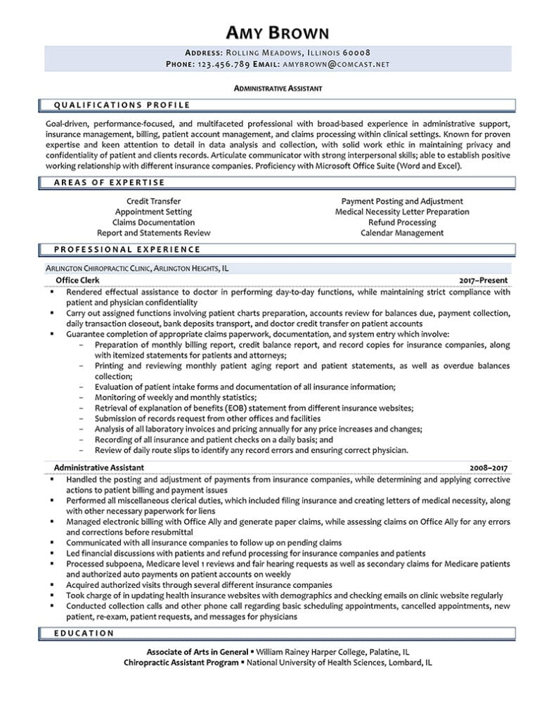 Administrative clerk resume