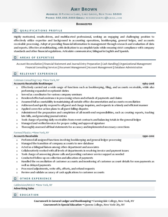 Bookkeeper Resume Example Prepared By Resume Professional Writers