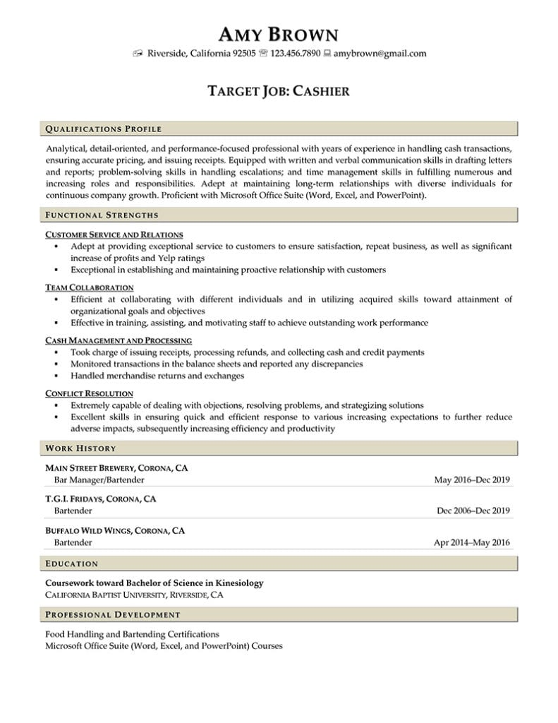 Cashier Resume Example Prepared By Resume Professional Writers