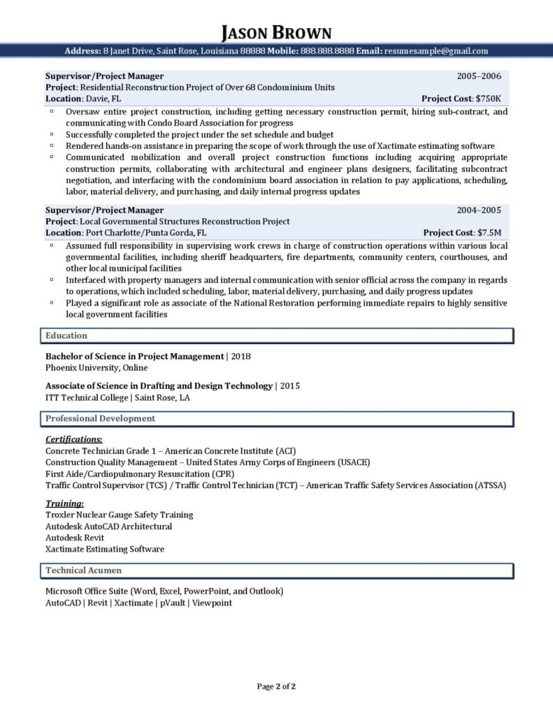 Page 2 Of A Civil Engineer Resume Example Prepared By Resume Professional Writers