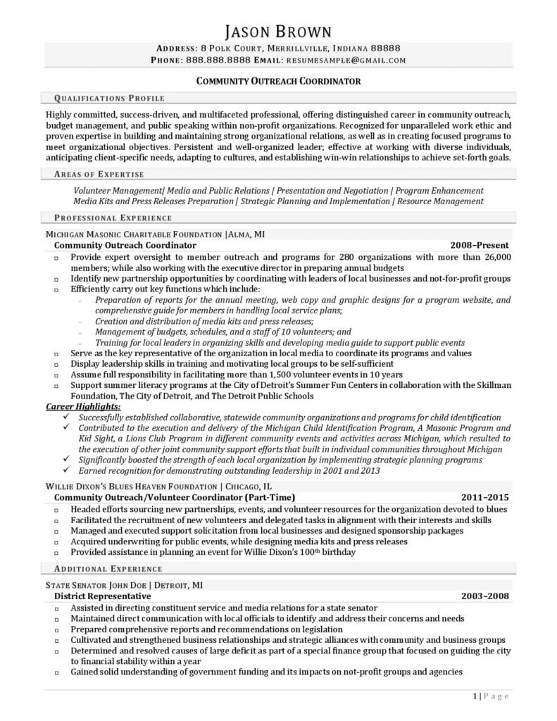 Page 1 Of A Community Outreach Coordinator Resume Example Prepared By Resume Professional Writers