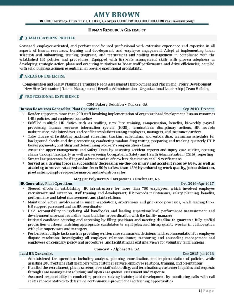 Human Resources Generalist Resume Examples 01