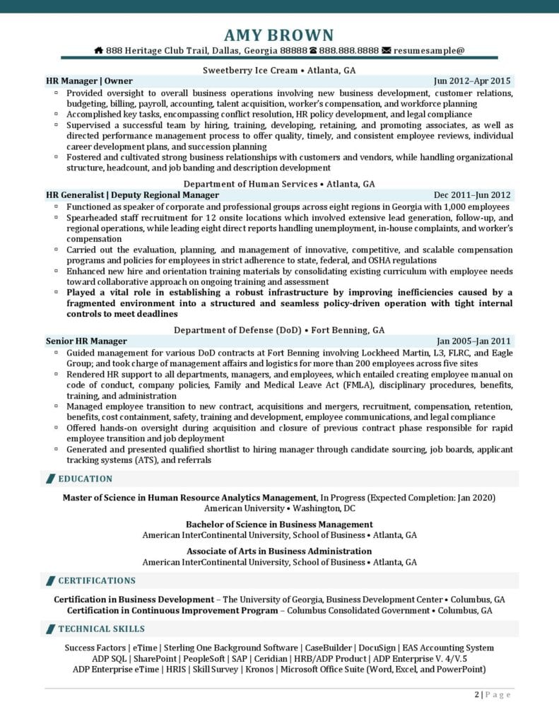 Human Resources Generalist Resume Examples 02