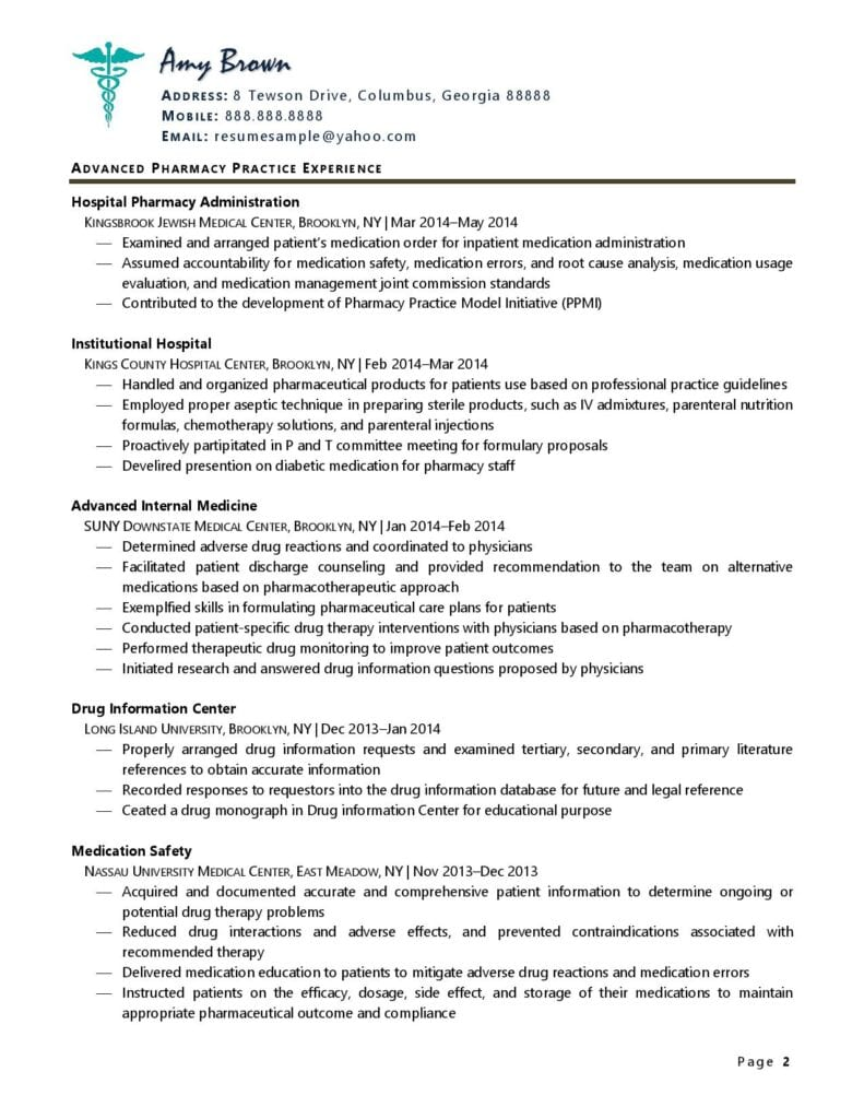 Page 2 Of A Pharmacist Resume Example Prepared By Resume Professional Writers