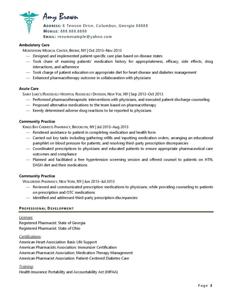 Page 3 Of A Pharmacist Resume Example Prepared By Resume Professional Writers