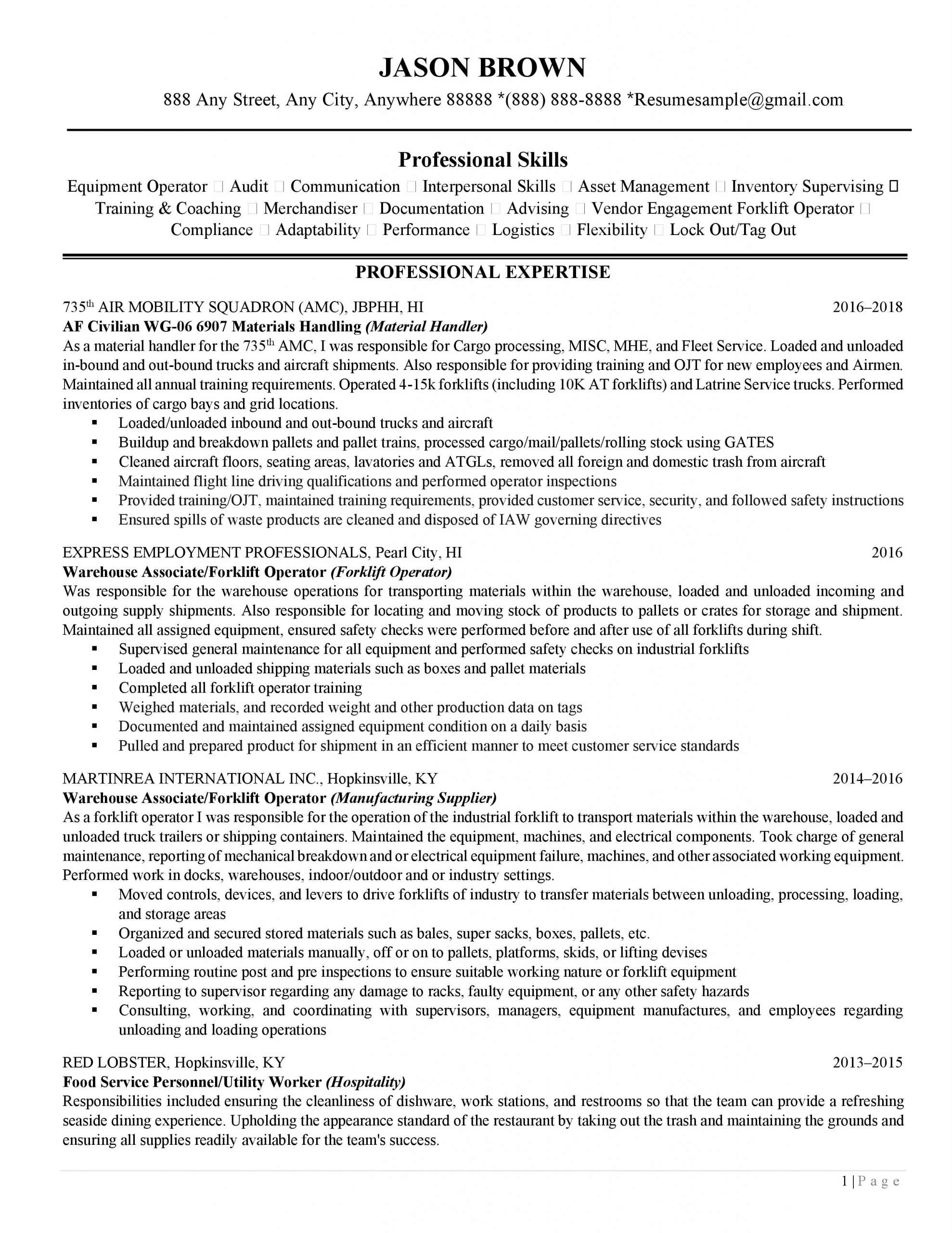 How to write a narrative resume: Page 1 of a traditional resume example