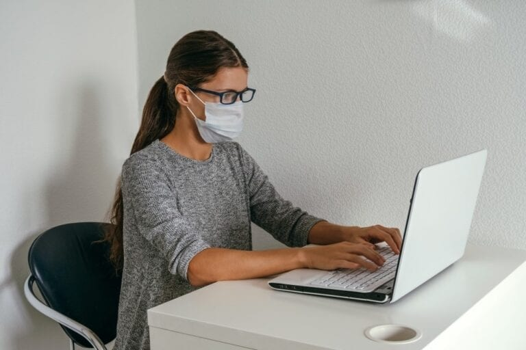 Woman applying to land a job during pandemic