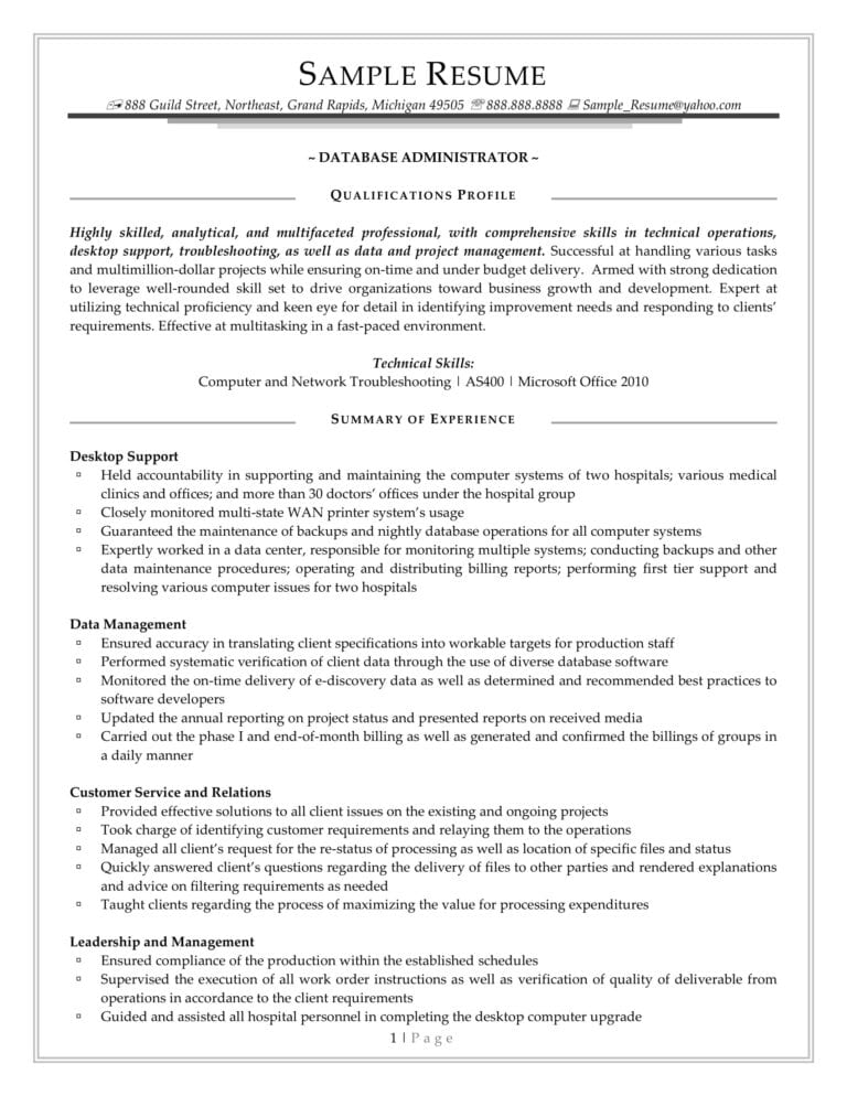 Functional Resume Format Example 1