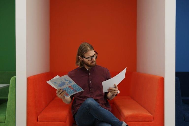 Job seeker holding CV and resume