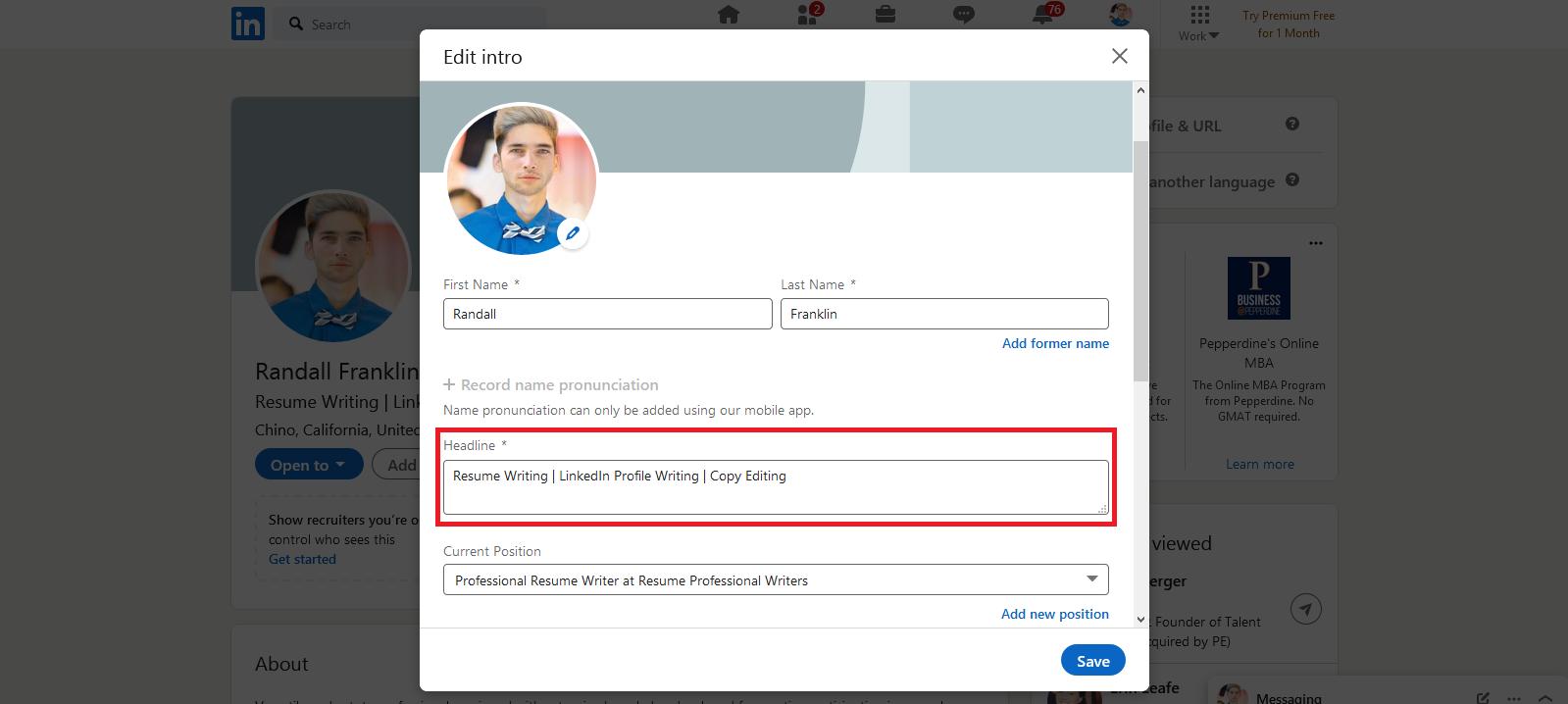 LinkedIn headline example - Screenshot of LinkedIn introduction card