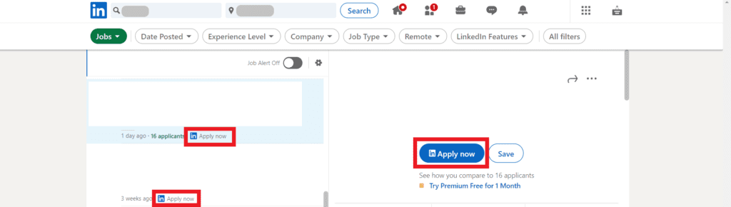 screenshot of LinkedIn's Easy Apply or Apply Now feature
