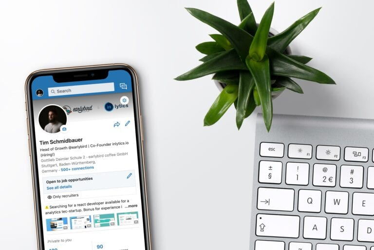 a photo of a LinkedIn account logged in on a smartphone