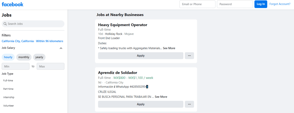 Facebook jobs homepage with filtered nearby job postings