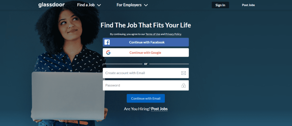 Homepage of glassdoor one of the best job search engines