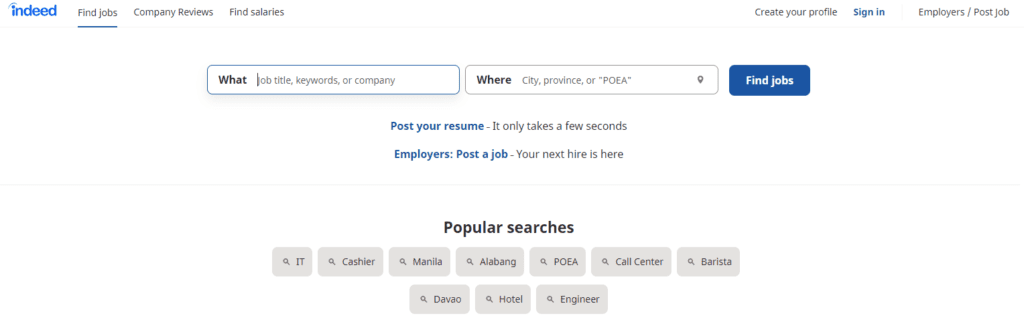 indeed hero section with search bars and sign in tabs