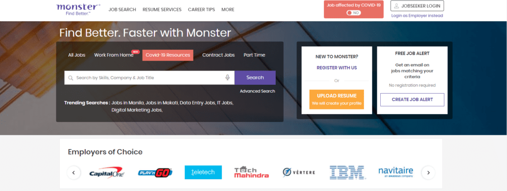 Monster homepage as best job search engines to upload a resume