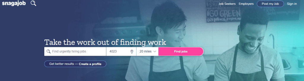 Snagajob homepage with two baristas smiling while preparing food