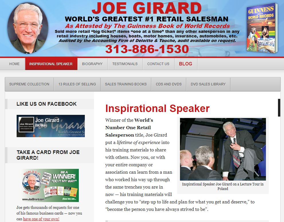 about me examples: Joe Girard's about page