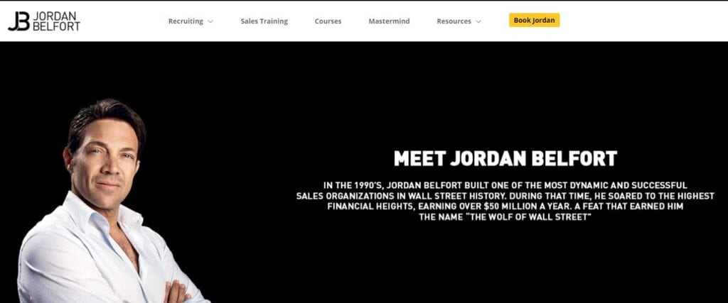about me examples Jordan Belfort's about page