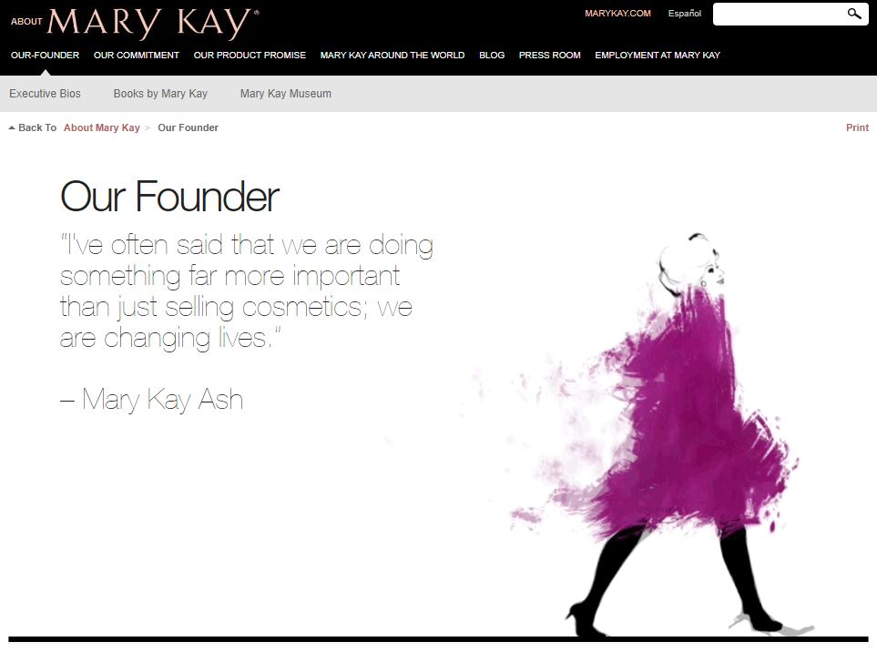 about me examples: Mary Kay Ash's about page
