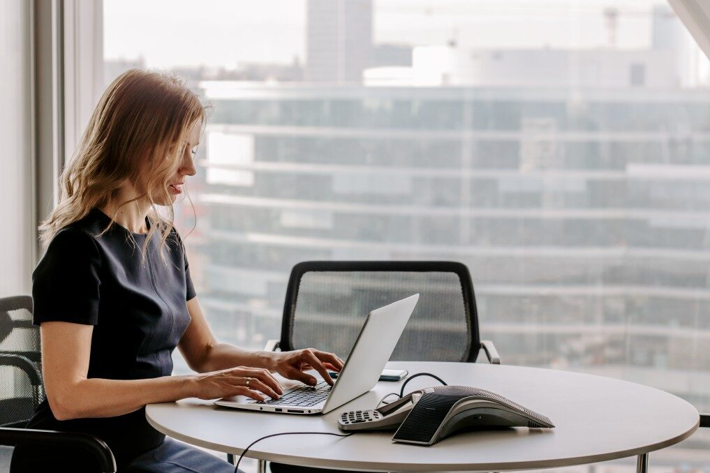 hiring manager conducting online interview