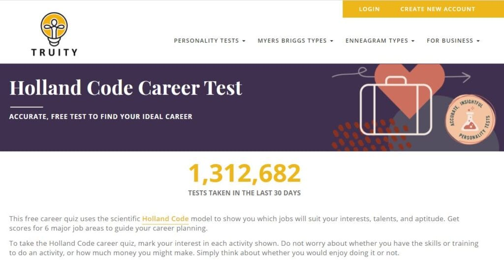 homepage of truity holland code career test