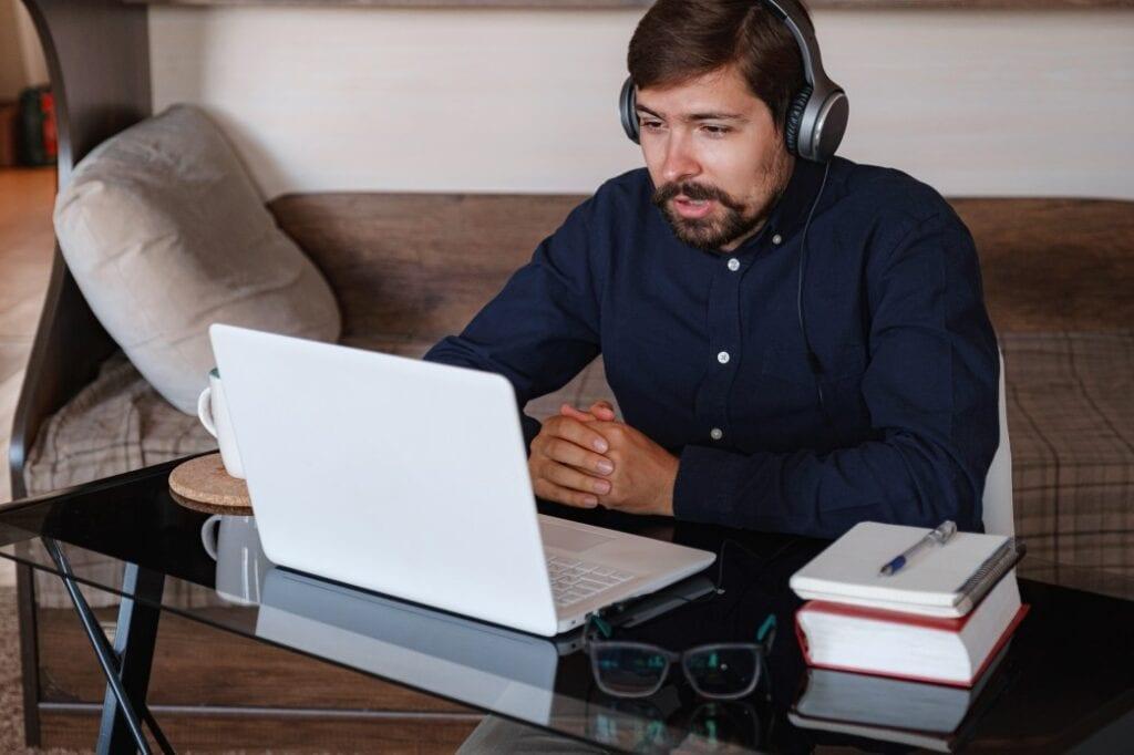 job seeker engaging in online interview