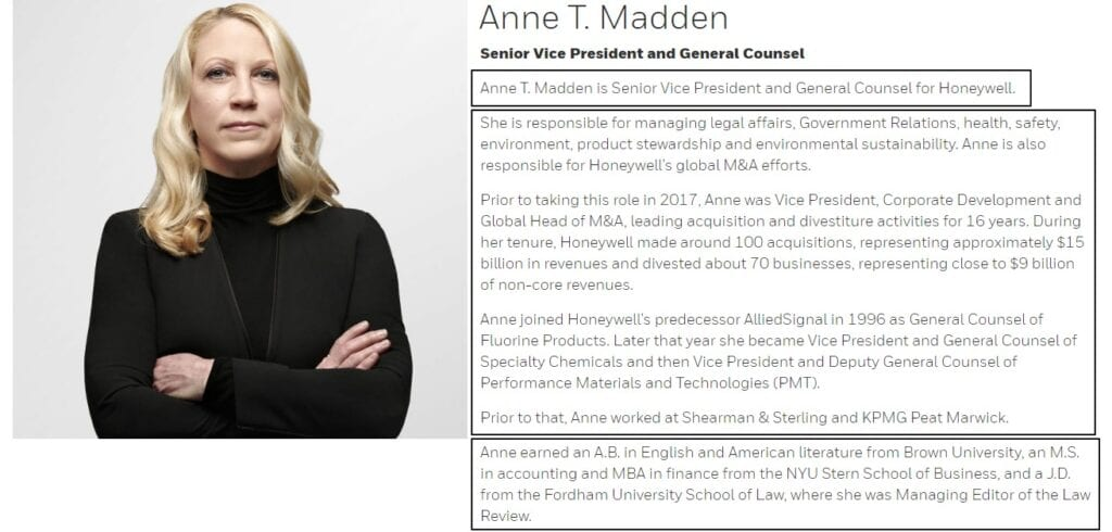 The Best Professional Bio Examples Include This Bio Of Anne Madden For Honeywell