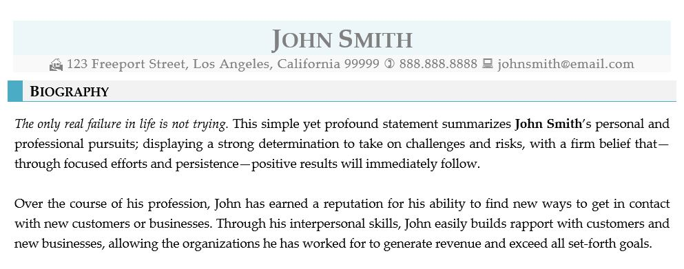A Sample Professional Bio Written By Rpw For John Smith