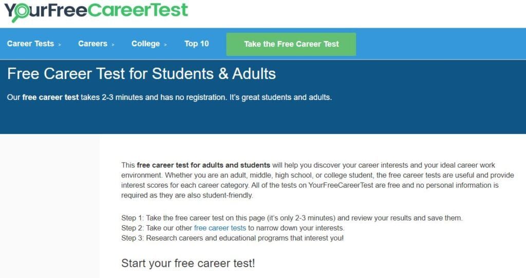 your free career test page