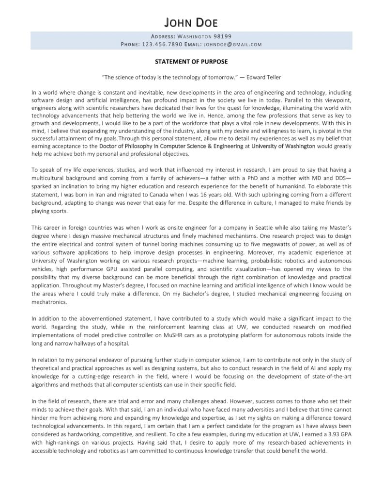 Sample of statement of purpose written by career experts at Resume Professional Writers