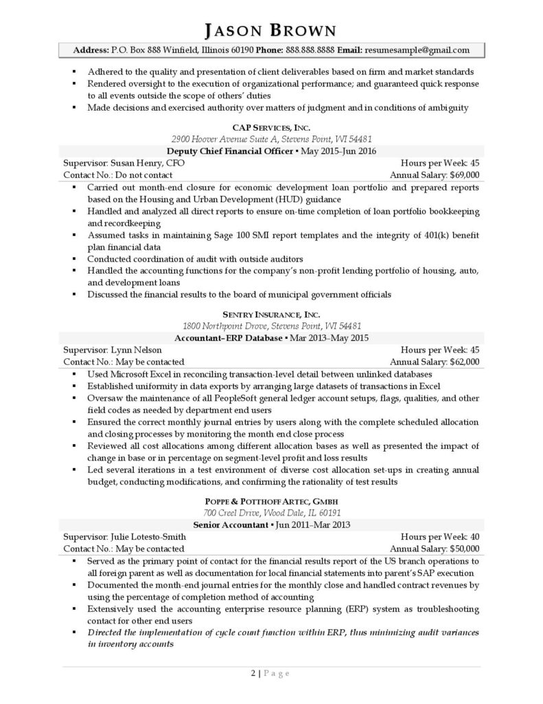 Federal Resume Sample For Finance Page 2