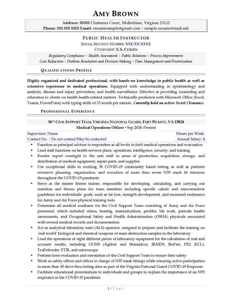 Federal Resume Sample For Healthcare Page 1