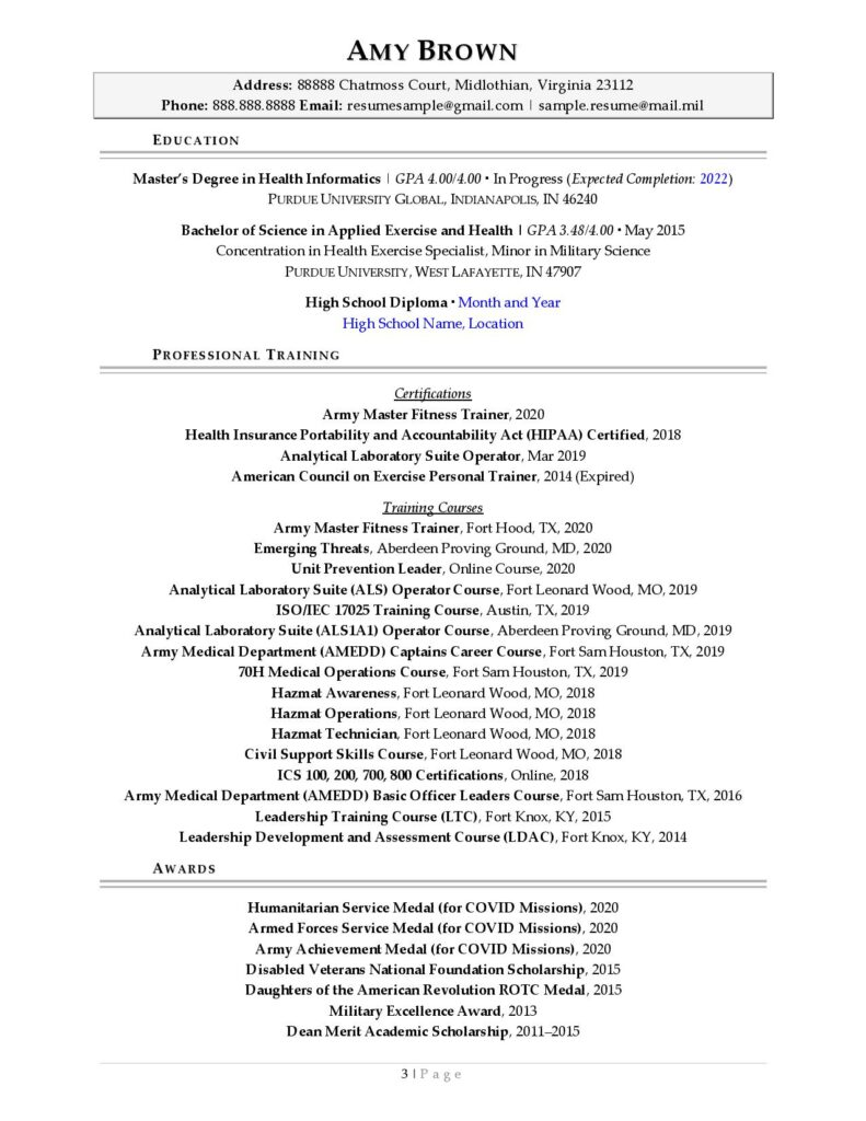 Federal Resume Sample For Healthcare Page 3