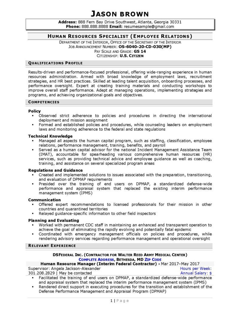 Federal Resume Sample For Human Resources Page 1